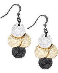 Style & Co. | Black Tri-tone Textured Metal Drop Earrings | Lyst