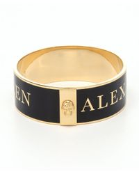 Alexander McQueen | Black And Gold Enamel Logo Skull Bangle | Lyst