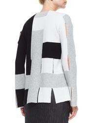 Edun - White Colorblock Weave Knit Sweater - Lyst