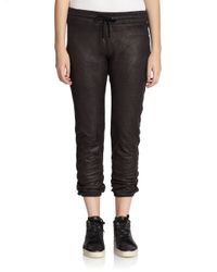 Monrow | Black Perforated Faux Leather Track Pants | Lyst