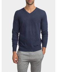 White + Warren Blue Mens Cashmere Chain Stitch V Neck for men