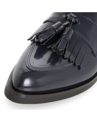 Dune Black Blue Ginnie Toe Pointed Leather Tassel Loafers
