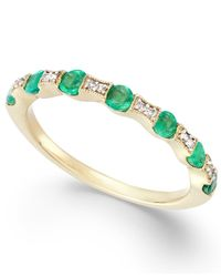 Macy's | Green Emerald (1/3 Ct. T.w.) And Diamond Accent Band In 14k Gold | Lyst