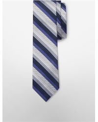 Calvin Klein - Blue White Label Slim Platinum Halo Stripe Tie for Men - Lyst