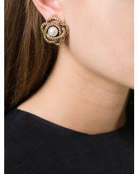 Oscar de la Renta - Metallic Pearl Button Clip Earrings - Lyst