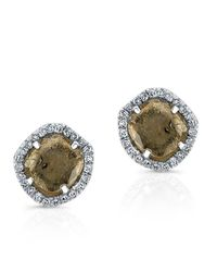 Anne Sisteron | Brown 14kt White Gold Diamond Slice Stud Earrings | Lyst