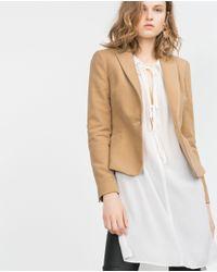 Zara | Natural Moleskin Blazer | Lyst
