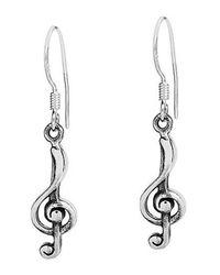 Aeravida - Metallic Trendy Music Treble Clef Sterling Silver Dangle Earrings - Lyst