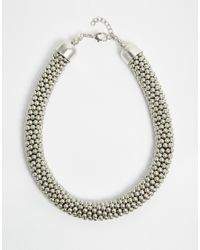 SELECTED - Metallic Meta Bobble Choker Necklace - Lyst