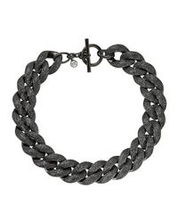 Michael Kors | Black Curbchain Pave Toggle Necklace | Lyst