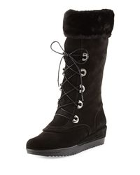 Stuart Weitzman | Black Bigfoot Suede Lace-up Cold-weather Boot | Lyst