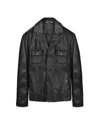 FORZIERI | Black Washed Leather Multi-pocket Jacket for Men | Lyst