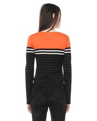 Alexander Wang | Black Engineered Stripe Long Sleeve Tee | Lyst
