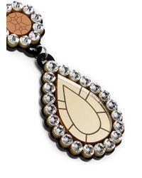 Yazbukey Multicolor 'gold Diamonds' Gemstone Plexiglas Clip Earrings