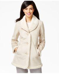 Jones New York Natural Shawl-collar Faux-shearling Coat