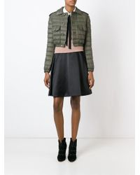 RED Valentino - Green Quilted Cropped Jacket - Lyst