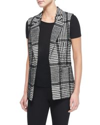 Theory - Gray Eldora Houndstooth-Patterned Wool-Blend Vest - Lyst