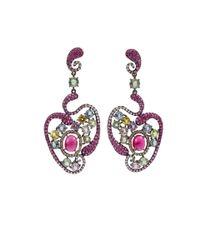 Wendy Yue - Multicolor Garnet Sapphire Diamond Heart Drop Earrings - Lyst