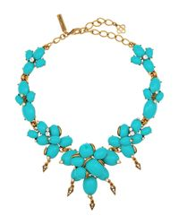 Oscar de la Renta - Blue Oval Cabochon Cluster Necklace - Lyst