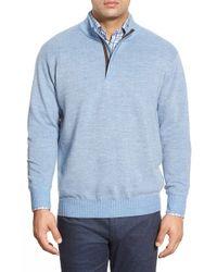 Peter Millar Blue Quarter Zip Merino Wool Sweater for men