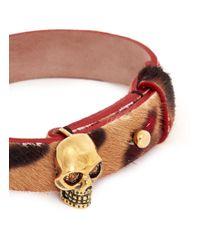 Alexander McQueen | Brown Skull Cheetah Print Calf Hair Bracelet | Lyst