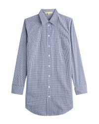 Michael Kors | Checked Cotton Button-down - Blue | Lyst