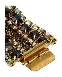 Elizabeth Cole Metallic Gold-Plated Swarovski Crystal Bracelet