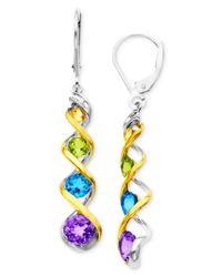Macy's - Metallic 14K Gold And Sterling Silver Earrings, Multistone Swirl Drop - Lyst