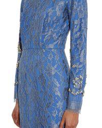 Emilia Wickstead Blue Gemstone-embellished Lace Dress