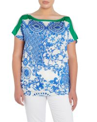 Persona - Multicolor Plus Size Short Sleeved Printed Drape Top - Lyst
