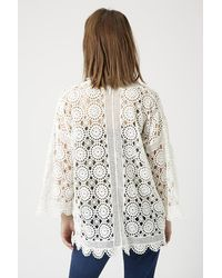 TOPSHOP Natural Lace Knitted Cardigan