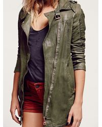 Free People | Green Full Extension Leather Motorcycle Jacket | Lyst