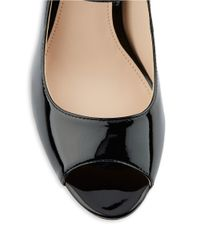 Calvin Klein | Black Leila Patent Leather Peep Toe Pumps | Lyst