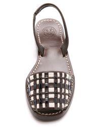 Tory Burch Brown Emori Flat Sandals - Coconut/new Ivory/black