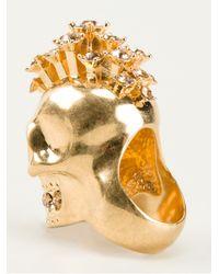 Alexander McQueen - Metallic Mohican Skull Cocktail Ring - Lyst