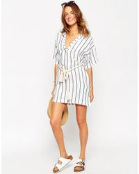 ASOS Multicolor Stripe Rope Belted Beach Shirt Dress