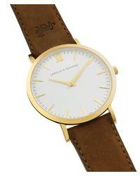 Larsson & Jennings - White 'lãder Brown' Leather Strap Watch - Lyst