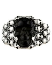 King Baby Studio - Metallic Rainbow Obsidian Carved Skull In Silver Skull Frame for Men - Lyst