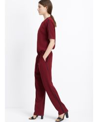 Vince - Purple Contrast Trim Short Sleeve Jumpsuit - Lyst