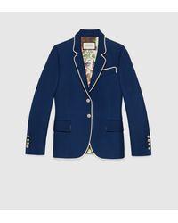 Gucci | Blue Silk-wool Jacket | Lyst