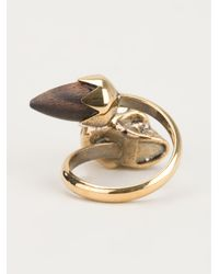 Alexander McQueen | Metallic Acorn Twin Skull Ring | Lyst