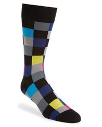 Bugatchi | Black Checkerboard Cotton Blend Socks for Men | Lyst