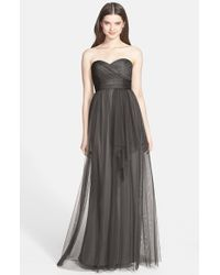 Amsale | Black Draped Tulle Gown | Lyst