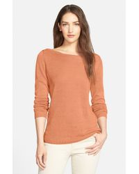 Eileen Fisher - Orange Organic Linen Bateau Neck Knit Top - Lyst