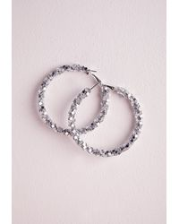 Missguided - Metallic Twisted Hoop Earrings Silver - Lyst