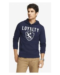 Express Blue Graphic Fleece Hoodie- Loyalty Shield for men