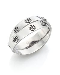 Tory Burch | Metallic Studded Double-wrap Logo Bracelet/silvertone | Lyst