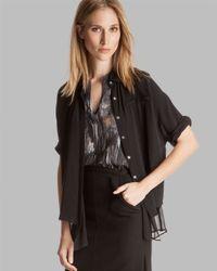 Halston Black Top Dolman Sleeve Double Layer Silk