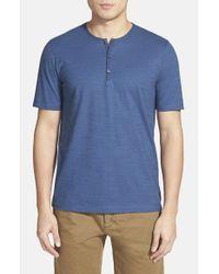 Calibrate - Blue Slub Short Sleeve Henley for Men - Lyst