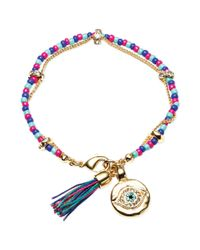 RACHEL Rachel Roy Metallic 12k Goldplated Crystal Evil Eye Charm and Tassel Beaded Flex Bracelet